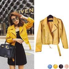 <b>Women's</b> PU Coat Slim Short <b>Leather Long</b>-<b>sleeved Zipper</b> ...