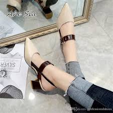 2019 <b>Spring New Hollow Coarse</b> Sandals High-heeled Shallow ...
