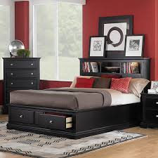 red wall paint black bed: red wall paint ideas combine with bookcase headboard