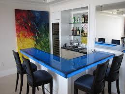 back lit blue glass bar contemporary kitchen bar top lighting