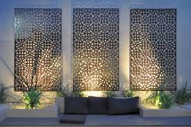 designs outdoor wall art:  outdoor wall art complicated pattern out door wall art three panels screen natural flower concept