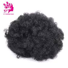 High <b>puff short Afro</b> curly hair bun with drawstring and clips in hair ...
