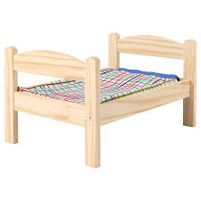 DUKTIG Doll <b>bed with</b> bedlinen set, pine, multicolor - IKEA