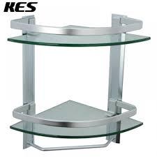 bathroom tempered glass shelf: kes bathroom  tier corner glass shelf with wide rail and towel bar hanger aluminum