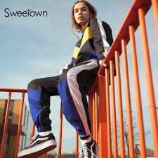 Sweetown <b>Two Piece Set Top</b> And Pants Streetwear Tracksuit ...
