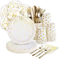White and Gold Party Supplies Set - 168PCS Gold ... - Amazon.com