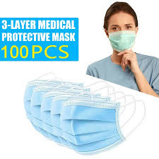 <b>100 PCS</b> Professional Cloth Face Mask Blue with <b>3</b> Ply Filter and ...