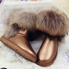 Top Fashion <b>2017 Women's</b> Natural Fox Fur Snow Boots <b>100</b> ...