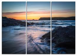 """Setting <b>Sun</b> at Polzeath <b>Beach</b>"" Wall Art, <b>3 Panels</b>, 36""x28"" - <b>Beach</b> ..."
