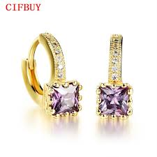 Woman <b>Cz Crystal</b> Hoop <b>Romantic</b> Gold Color <b>Purple</b>/ White <b>Cubic</b> ...
