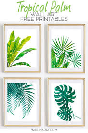 Beautiful Tropical Palm Watercolor Wall Art <b>Printables</b> • Made in a Day