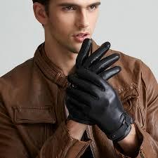 Genuine Leather Gloves <b>Men's Autumn Winter Plus</b> Velvet Driving ...