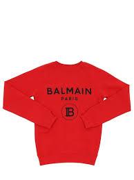 <b>Balmain</b> - Хлопковый <b>свитшот</b> с принтом логотипа - Красный ...