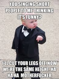 You singing short people to me thinking it's funny? I'll cut your ... via Relatably.com