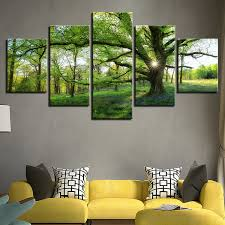 <b>Canvas</b> Paintings <b>Framework</b> HD Prints Pictures <b>5</b> Pieces Forest ...