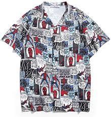 <b>Marvel Spider</b>-<b>Man</b> Allover <b>Print</b> Camp Collar Pocket Shirt at ...