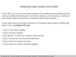 warehouse team leader cover letter executive team leader cover letter