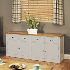 a stunning addition to any dining room the chadwick grey painted large sideboard with four chadwick satin lacquered oak hidden home