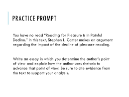 getting to know the writing prompt rubrics and anchor papers get  practice prompt you have no read reading for pleasure is in painful decline
