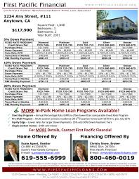 real estate professionals firstpacificloans com flyer example 2015
