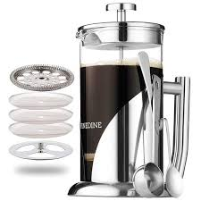 Finedine Glass French Press Coffee Maker - Stainless Steel, with 34 ...