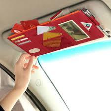<b>Car Sun</b> Visor Fabric Package DVD Bills Bank <b>Card</b> Holder Clip <b>Car</b> ...