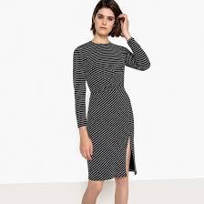 <b>Платье облегающее</b> с рисунком в горошек из джерси в горошек ...