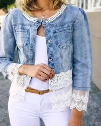 NEW <b>Farah</b> Lace Trim Jean <b>Jacket</b>   изделия из джинса   Lace ...