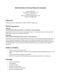 resume sample for applying medical records clerk and medical administrative clerk resume sample displaying objective and work experience and skills a part of under administrative