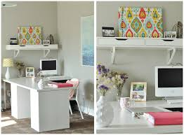 diy office shelves white office scheme wooden wall bedroom home office view
