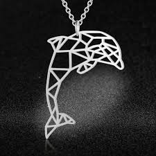 100% Real Stainless Steel Hollow Big Dolphin Necklace Super ...