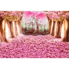 <b>Laeacco</b> Spring Pink Trees Flowers Road <b>Castle</b> Wonderland Petal ...