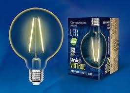 <b>Лампочка Uniel</b> Vintage <b>LED</b>-<b>G95</b>-<b>4W</b>/<b>GOLDEN</b>/<b>E27</b>, Теплый свет ...