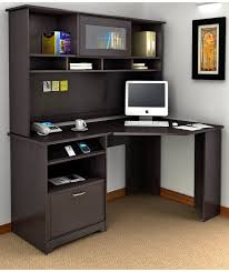 dark gray polished solid wood cabinet storage with computer table having several shelves on light brown simple black astounding small black computer