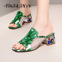 <b>AIKELINYU Women Brand</b> Slippers Fashion Plant Flowers Mule ...
