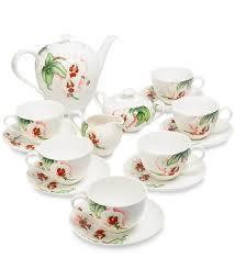 <b>Чайный</b> сервиз из фарфора на <b>6 персон</b> «Королевская орхидея ...
