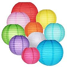 OFNMY <b>16Pcs Colorful</b> Paper Lanterns 4/6/8/10-Inch Chinese ...
