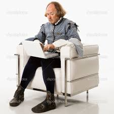 shakespeare on laptop computer stock photo copy iofoto  william shakespeare in period clothing sitting on modern chair using laptop photo by iofoto