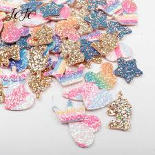 <b>JOJO BOWS</b> 10pcs DIY Craft Supplies Unicorn Glitter Planar Resin ...