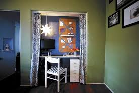kyle schuneman helps turn a closet in a small 1920s apartment into an alcove work space alcove office