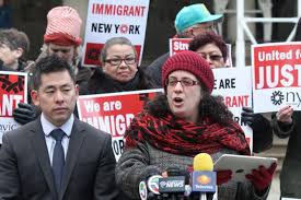 ny state afl cio cornell union leadership institute the ilr valeria treves leads rally for new york immigration coalition