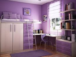 purple bedroom interior with white metal loft bunk bed and ladder built in small wardrobe and bunk bed dresser desk