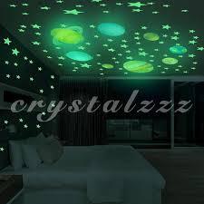 CR 100pcs Glow <b>Star</b> Noctilucent Wallpaper <b>Universe</b> Planet Galaxy ...