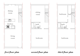 Modern House Plans by Gregory La Vardera Architect  Row house    This is an approximate floor plan of an s era story row house rented by a friend  It was completely rehabbed at some point in time  and the partitions