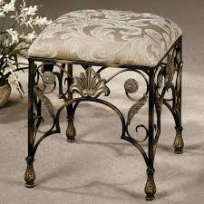 Small Bathroom Stools Antique Wrought Iron Small Bathroom Bench With Waverly Pattern Pad