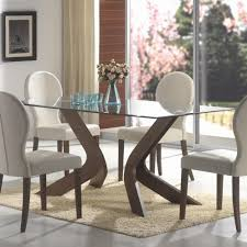 side chairs set clear modern clear  furniture rectangle clear glass top dining table with brown woo