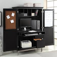 image of dark black computer armoire for home office armoire office