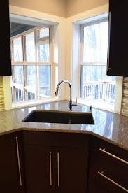 corner sinks design showcase: exciting corner sink kitchen and also magnificent corner sink design plus stunning two white window