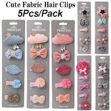 <b>5Pcs</b>/<b>Pack Cartoon Crown</b> Bow Cute Girl's Hair Clips Kit Cloth Cloud ...