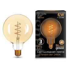 Светодиодная <b>лампа Gauss</b> LED <b>Filament</b> G120 <b>Flexible</b> E27 6W ...
